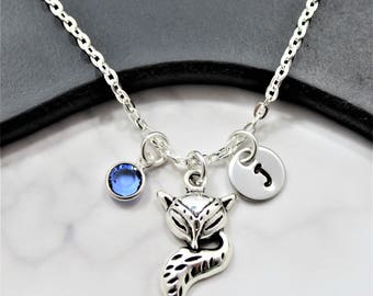 Fox Birthstone Necklace - Silver Fox Necklace - For Women Kids - Fox Charm Necklace - Little Fox Necklace - Fox Tail Necklace Girls