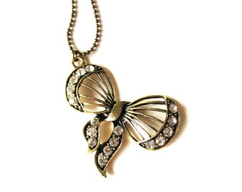 Bow ribbon pendant with clear crystals antique bronze necklace LAST ONE