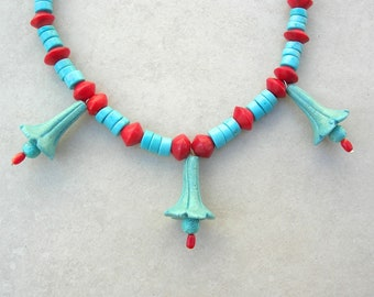 Aqua Egyptian Bell Flowers, Faience Flower Beads, Coral & Turquoise Beads, The Egyptian Collection, Necklace by SandraDesigns