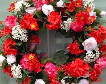 Geranium Wreath, Summer Wreath, Door Wreath, Silk Flower Wreath, Door Decoration, Silk Floral Wreath, Spring Wreath,Geranium and Rose Wreath