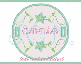 Floral Circle Button On Tab Machine Embroidery Design