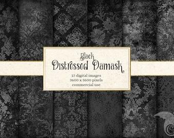 Black Distressed Damask Digital Paper, vintage textured scrapbook paper, scrapbooking grunge textures, black and gray paper instant download