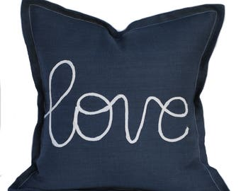 One navy 'love' pillow cover, cushion, 18x18, decorative throw pillow, decorative pillow, nautical decor, sail cover