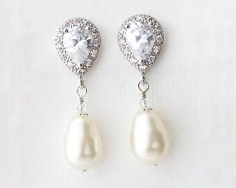 Pearl Drop Earrings, Pearl Bridal Earrings, Bridal Drop Earrings for Bride, Pearl Wedding Earrings, Pearl Bridal Earrings, Bridal Earrings