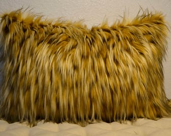 Lumbar Pillow, Faux Fur Pillow, Rich Golden Tones Faux Fur Pillow, 16x24,  Decorative Pillow,  Ready to Ship