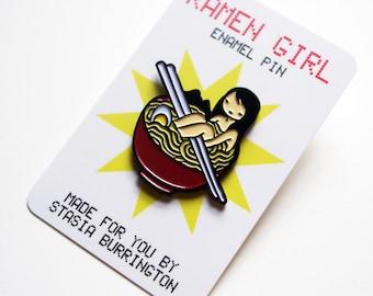 Ramen Girl enamel pin - ultra cute Japanese Food Lover