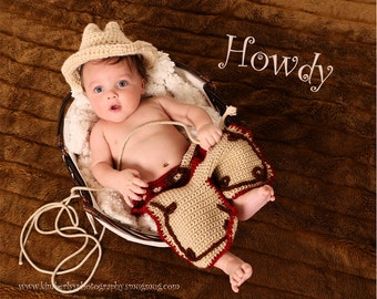 Baby Cowboy Outfit, Baby Cowboy hat and chaps, Baby western wear