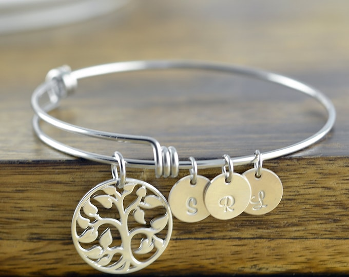 silver family tree bangle bracelet - tree of life bracelet -  family tree jewelry - grandmother gift - gifts for mom - mom gift