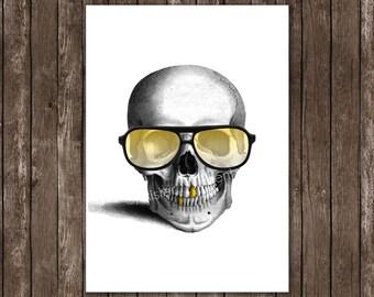 Happy Skull - print, Mixed media Decorative art, Gold Gangster Swag, illustration, portrait, POSTER 8x10