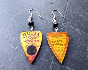 Ouija earrings, ouija board earrings, ouija jewellery, ouija board, planchette earrings, ouija board jewelry, horror jewelry, gothic jewelry