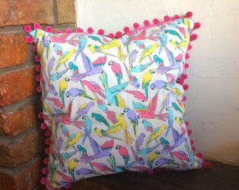 "Vibrant bird cushion cover large with pink pompom trim and turquoise corduroy backing 20""x20"""
