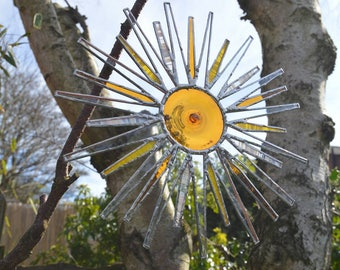 Tiffany style Stained Glass sun.  Hanging suncatcher