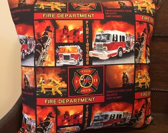 Firefighters Decor Pillowcase  18x18 Inches