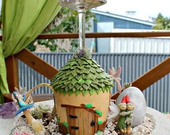 Light-Up Rustic Fairy House - Fairy Night Light - Fairy Lamp - Fairy Garden Accessory - Polymerclay Fairy House - Polymerclay Fairy