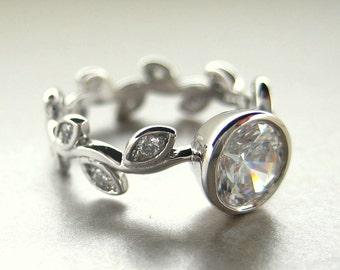 White sapphire leaf Engagement ring.  Leaf diamond ring.  Engagement ring with leaves.  White sapphire vine ring.  14k white gold vine ring.