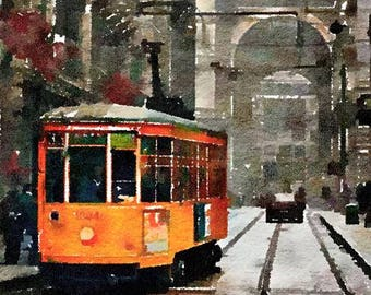 Milan Tram Italy Original Watercolor Brush Illustration Painting