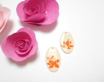 x 2 ivory flower sequins orange 26 mm
