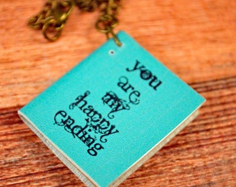 Happy Ending Book, Book Necklace, Book Jewelry, Bookworm Necklace, Bookworm Gift, Reading Gifts, Reading Necklace, Teal Book Necklace