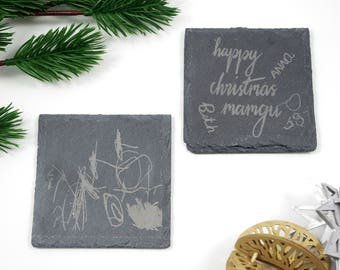 Slate coasters with your child's drawing on!