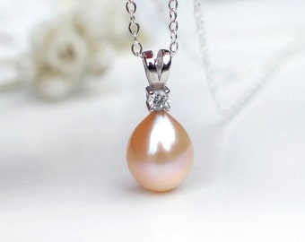 Peach Champagne Teardrop Pearl Pendant Necklace | Freshwater Pearl | CZ | Sterling Silver Necklace | Vintage Rose Pearl | Gift Ready to Ship