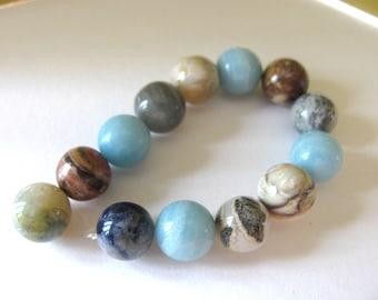 Jasper beads, 13 beads, 10mm, blue, brown, tan, black, Jewelry supply B-1628