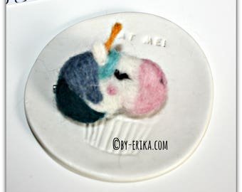 Felted blue Unicorn brooch