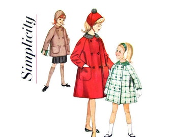 Girls Hat & Coat Pattern Simplicity 5147 Double Breasted Coat Peter Pan Collar Raglan Sleeves Girls Sewing Pattern Size 7 Vintage Pattern