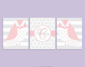 CANVAS Owl Nursery Wall Decor Set of 3 - Pink Owl Wall Art - Pink and Gray Nursery Decor Childrens Art - Personalized Playroom Wall Decor