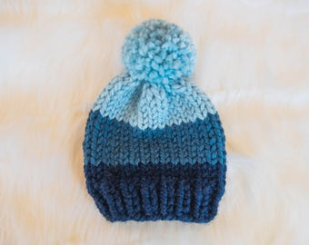 Ombre Baby Knit Hat / Child Chunky Beanie / Knit Baby Hat Pom Pom / Toddler Knit Baby Hat / Knit Child Hat