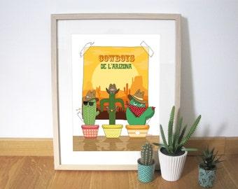 Art print illustration cactus 30x40 cm