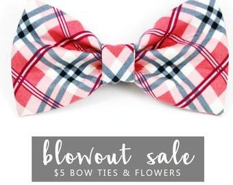 """Dog Bow Tie Collar Accessory Sale Ready to Ship Light Red & Blue Plaid """"Grrrberry"""""""