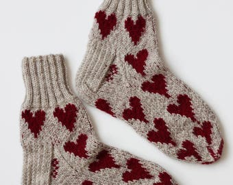Hand-knitted Wool Socks BE MY VALENTINE By VidaFelt - Size 39-41 - Free Shipping!