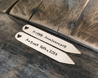 Hand stamped bronze collar stays anniversary wedding gift for him wedding date gift personalized collar stays 8 year anniversary gift