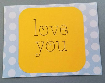 Love You Greeting Card Wedding Love Anniversary Friend Blue & Yellow