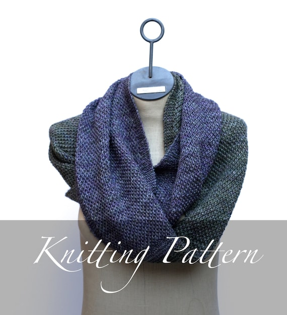 Knitting Pattern The Ombr Cowl Scarf Pattern Infinity Scarf