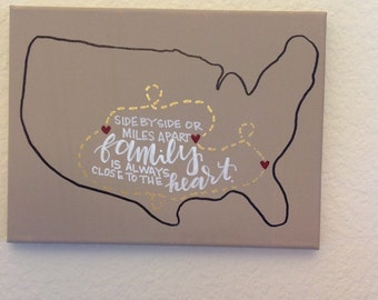 Personalized long distance family or friend canvas with hand lettering
