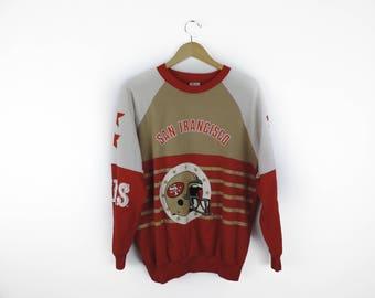 Vintage Adult San Fransisco 49ers Star Sleeve Crewneck Sweatshirt // Size XL