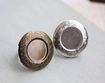 Locket Rings. Antique Bronze or Antique Silver (2 pcs)