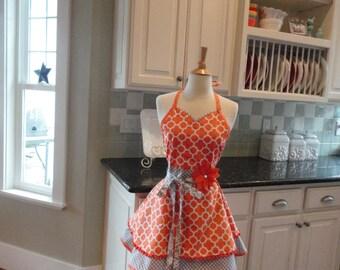 Orange You Cute  - READY TO SHIP - Women's Apron ~ Tangerine/Gray ~ Sadie Style ~ 4RetroSisters