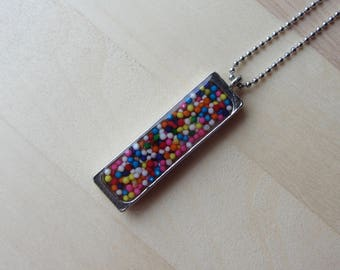 Real Candy Necklace, Rainbow Hundreds Thousands Sprinkles Pendant Necklace, Kawaii Food Jewelry, Stainless Steel Chain, Birthday Necklace