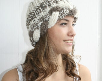 Brown and Cream  Wool  Hat Beanie Christmas Gift For Her