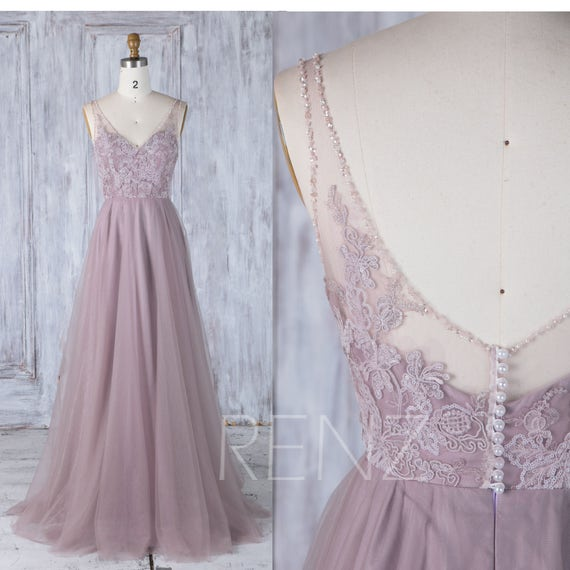 Dunkel lila Tüll Brautjungfernkleid mit Schleppe V Perle