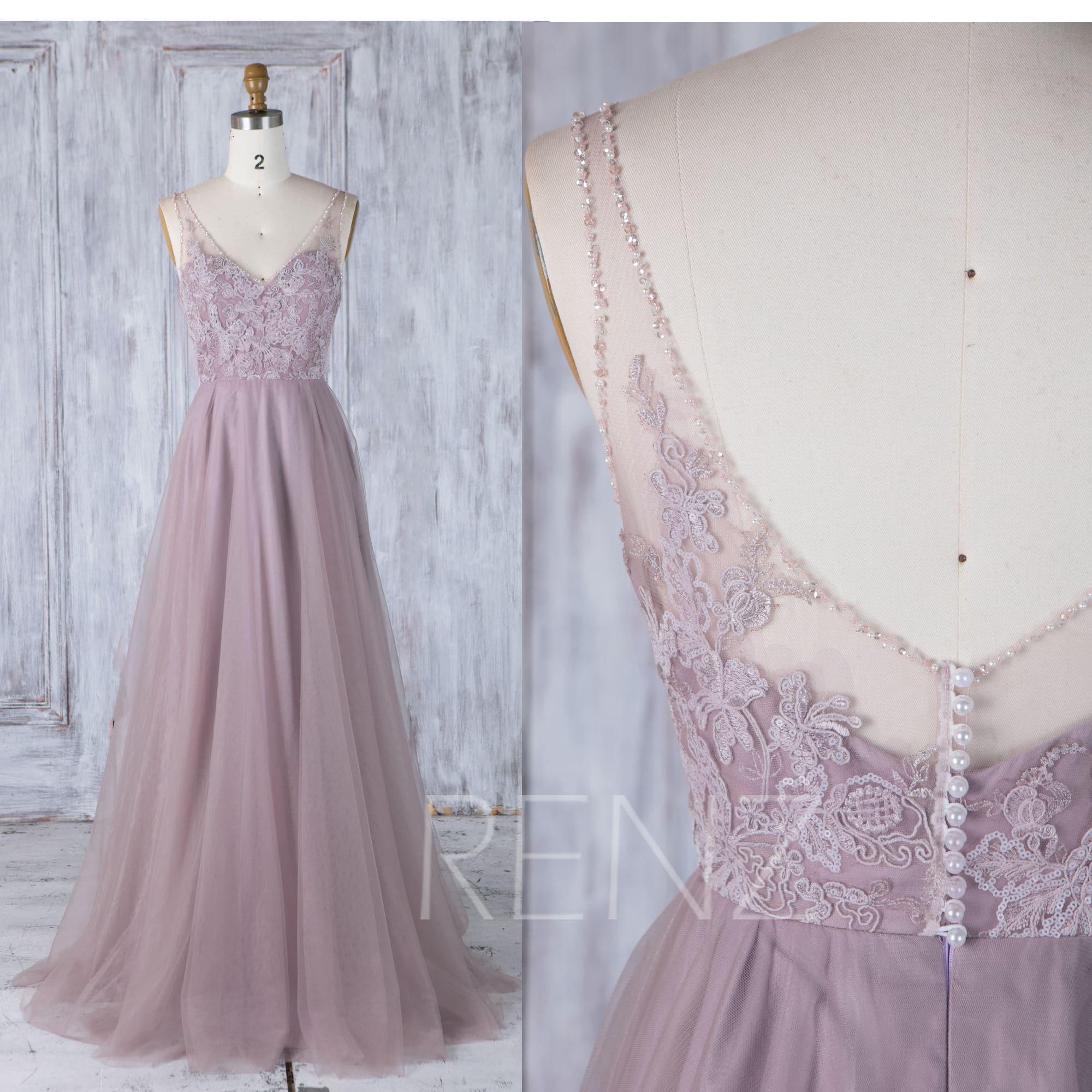 Dark mauve tulle bridesmaid dress with trainv bead neckline zoom ombrellifo Images