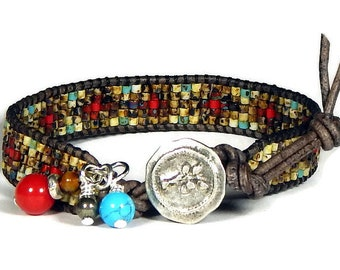 """Leather Wrap Bracelet Bead Loom Bracelet Red Apple with Silver Brown Turquoise 7 """" Aerieanna's Wristcraft"""