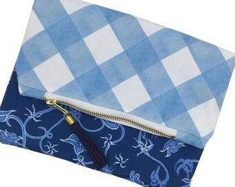 Boho Tassel Clutch, Chinoiserie Handbag, Blue Chinoiserie Clutch, Chinoiserie Evening Bag, Reversible Flower Clutch, Gold Tassel Handbag