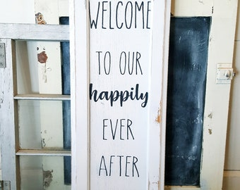 Welcome to our happily ever after wood sign- 11x28, wood sign, wedding decor, rustic wedding decor, wedding signs, rustic wedding signs