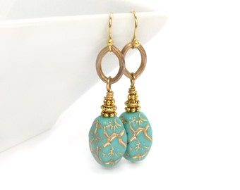 Turquoise Earrings - Gold Inlay - Czech Glass Beads - Turquoise & Gold Dangle Earrings - Handmade BohemianJewelry
