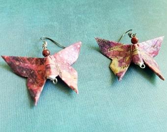Origami Butterfly Earrings, Japanese Earrings, Asian Earrings, Origami Jewelry, Red Butterfly Earrings, Paper Jewelry, Anniversary Gift
