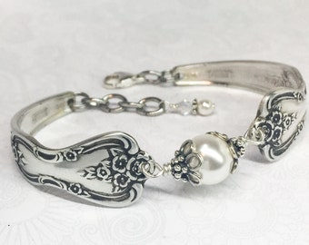 Silver Spoon Bracelet, White Pearls, Silverware Jewelry, Spoon Jewelry - 'Magnolia' 1951