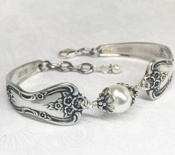 Silver Spoon Bracelet, White Pearls, Silverware Jewelry 'Magnolia' 1951